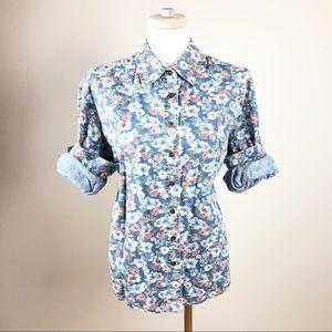 Vintage 100% Cotton Floral Chambray Liz Wear Shirt
